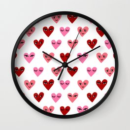 Heart love valentines day gifts hearts with faces cute valentine red and pink Wall Clock