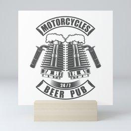 Beer pub emblem in vintage monochrome motorcycle style Mini Art Print
