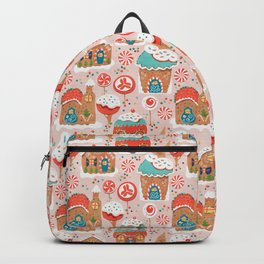 Gingerbread Candy Land on pink Backpack