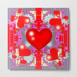 Grey Red Hearts Valentines & Pink Flowers Patterns Metal Print
