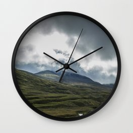 Scottish Mountains with Rain Clouds Wall Clock