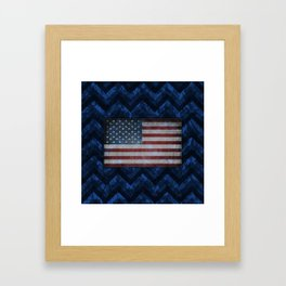 Cobalt Blue Digital Camo Chevrons with American Flag Framed Art Print