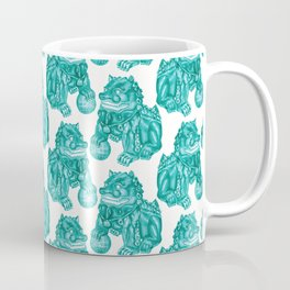 Chinese Guardian Lion Statues in Emerald Jade Coffee Mug