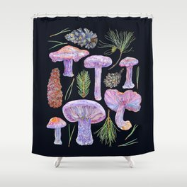 Wood Blewits and Pine - Dark Shower Curtain