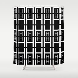 H (Black Background) Shower Curtain