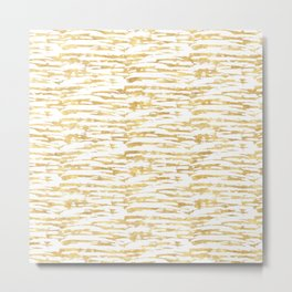 Gold Glitzy Abstract Stripes Metal Print