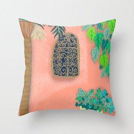 Pink Garden Wall Morocco Throw Pillow