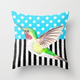 Artsy Hummingbird Blue Throw Pillow