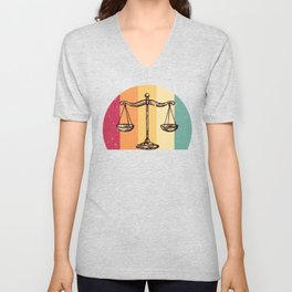 Scales Of Justice Lawyer Retro Gift Idea Unisex V-Neck