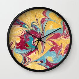 Primary Colors Marbled Texture Wall Clock