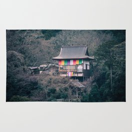 Temple on the mountainside Rug