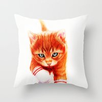 soccer Throw Pillows featuring Soccer Kitty by Isaiah K. Stephens