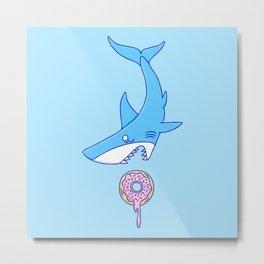 Shark Versus Donut Metal Print