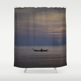 Rowing into the sunset II Shower Curtain