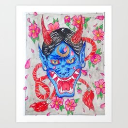 Hannya Blue Devil Art Print