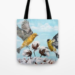 Golden Finches Picking Cotton Tote Bag