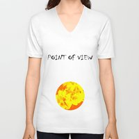 ali gulec V-neck T-shirts featuring Ali orange by Keren Shiker