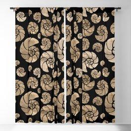 Sea shells pattern pastel gold on black Blackout Curtain