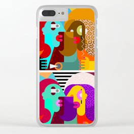 Abstract art portrait of three people Clear iPhone Case