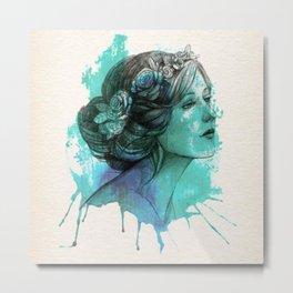 face beautiful girl drawe splash Metal Print