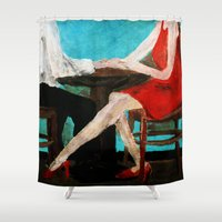 dress Shower Curtains featuring Red Dress by James Peart
