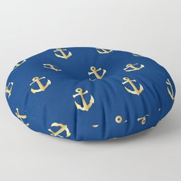 Gold Anchor Pattern on a Blue Background Floor Pillow