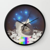 space cat Wall Clocks featuring Space Cat by omgcatz