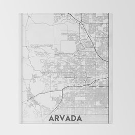 Minimal City Maps - Map Of Arvada, Colorado, United States Throw Blanket