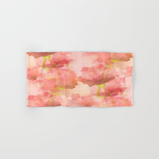 Delicate Pink Watercolor Floral Abtract Hand & Bath Towel