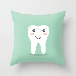 Big White Happy Tooth Throw Pillow