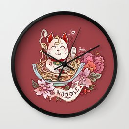 Cat in Noodles Wall Clock