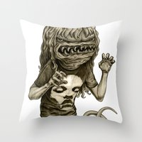 demon Throw Pillows featuring Demon by Tim Maclean