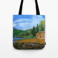 cabin Tote Bags featuring Old cabin by maggs326