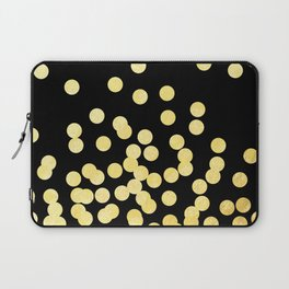 Cruz - Gold Foil Dots on Black - Scattered gold dots, polka dots, dots by Charlotte Winter Laptop Sleeve