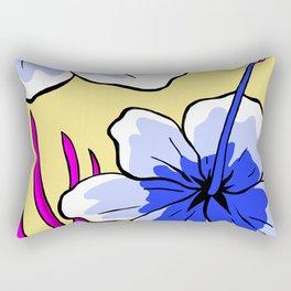 Aloha - beautiful flowers - tropical blue Rectangular Pillow
