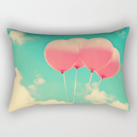 Balloons in the sky (pink ballons in retro blue sky) Rectangular Pillow
