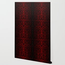 Dark Red and Black Damask Wallpaper