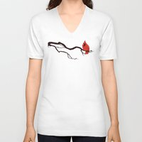 cardinal V-neck T-shirts featuring Cardinal by David Lanham