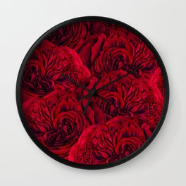 Rouge Garden - Red Roses and Peonies Pattern Wall Clock