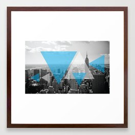 New York Abstract Blue Print (Peace) Framed Art Print