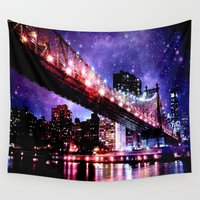 new york Wall Tapestries featuring New York New York by WhimsyRomance&Fun