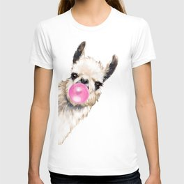Bubble Gum Sneaky Llama in Blue T-shirt