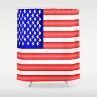 american flag Shower Curtains featuring American Flag by Justbyjulie