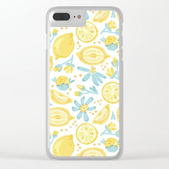 Lemon pattern White Clear iPhone Case