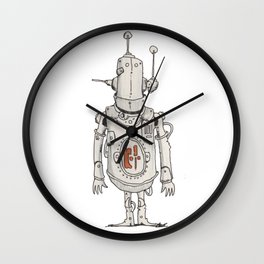 JunkBot in Red MK1 Wall Clock