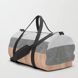 Carrara Marble, Concrete, and Teak Wood Abstract Duffle Bag