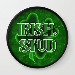 Irish Stud - St Patrick's Day Clover Wall Clock