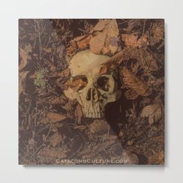 Catacomb Culture - Human Skull Forest Metal Print