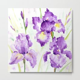 Watercolor Blue Iris Flowers Metal Print
