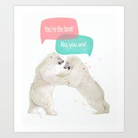 best friends Art Prints featuring best friends by Laura Graves